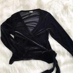 J Jill | Black Velvet Wrap Top Size Large